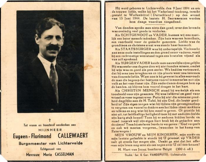 Callewaert Eugeen: burgemeester van Lichtervelde (Bidprentje & Foto )