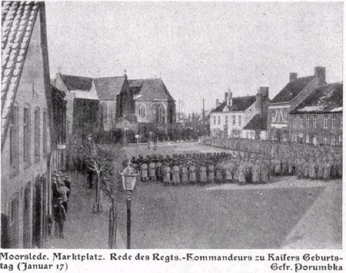 Redevoering Duitse regimentscommandant Marktplaats Moorslede, januari 1917