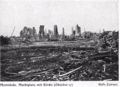 Verwoeste kerk en marktplein oktober 1917, Moorslede