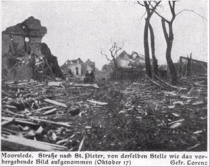 Moorslede, straat naar St.-Pieter oktober 1917