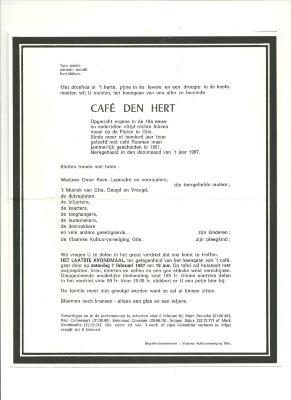Afscheid van café de Hert in Gits, 1987