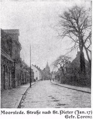 Moorslede, de straat naar St.-Pieter, januari 1917