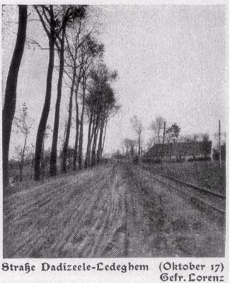 Straat in Dadizele-Ledegem, oktober 1917