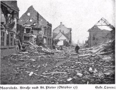 Straat naar St.-Pieter Moorslede, oktober 1917