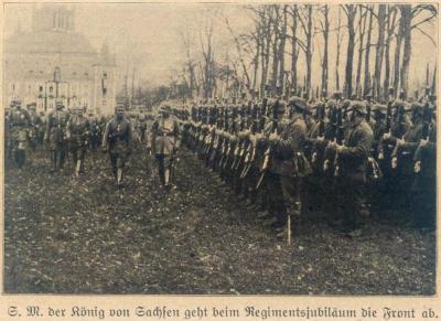 Koning van Sachsen schouwt de troepen, 18 maart 1916, Moorslede