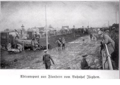 Vertrek Duitse troepen uit Vlaanderen, station Izegem