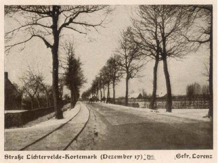 Straat Lichtervelde-Kortemark, december 1917, Lichtervelde