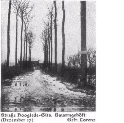 Straat Hooglede-Gits: winterlandschap, december 1917