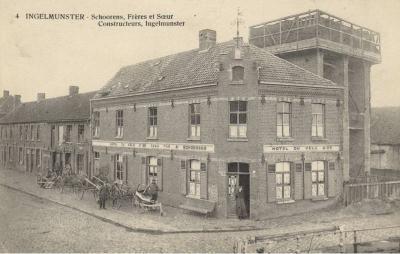 Hoek Kleine Izegemstraat en Stationsplein, Ingelmunster, ca 1910