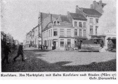 Straat van  Markt Roeselare naar Staden, maart 1917