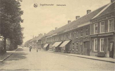 Zicht op het Stationsplein, Ingelmunster, ca 1910