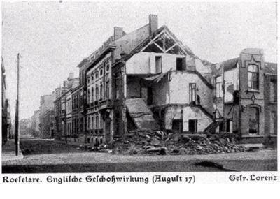 Effect van Engelse beschieting, Roeselare, augustus 1917