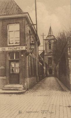 Café De Trompet in de Stationsstraat, Ingelmunster, ca 1910