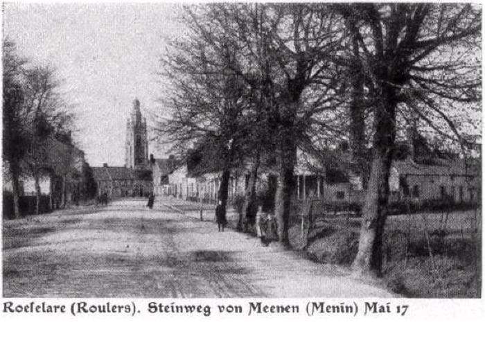 Menensteenweg Roeselare, mei 1917