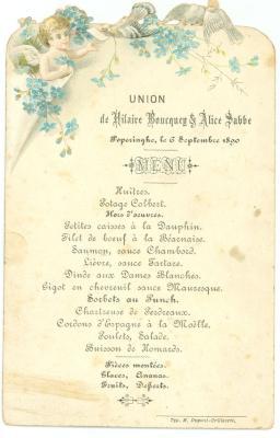 Franstalige menukaart 1890