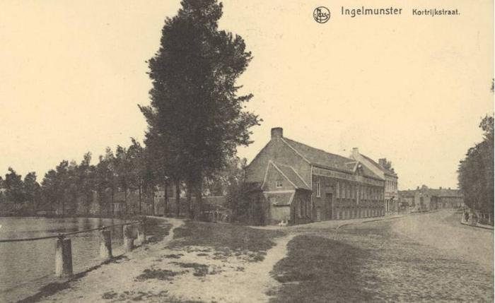 Zicht op de Stationsstraat, vroeger Kortrijkstraat, Ingelmunster, ca 1910