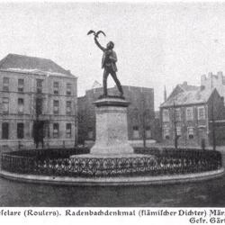 Standbeeld Rodenbach, maart 1917, Roeselare