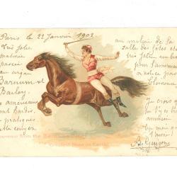 Postkaarten van het Barnum en Bailey circus met aquareltekening