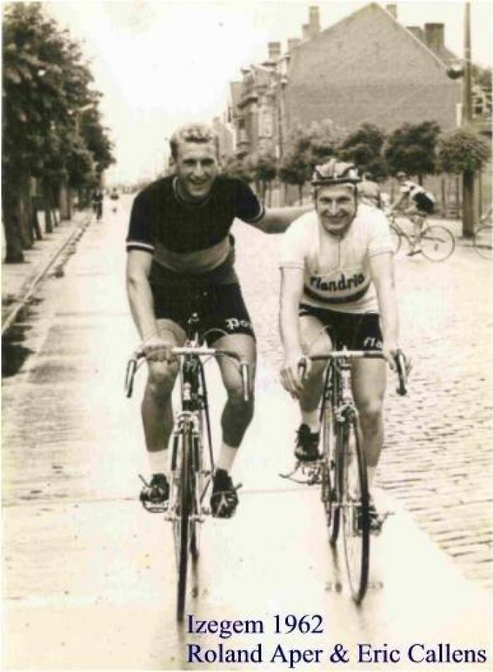 Coureurs Roland Aper en Eric Callens, Gits, 1962