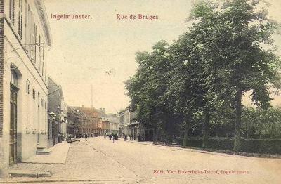 Bruggestraat, ter hoogte van de hoek met de Meulebekestraat, Ingelmunster, ca 1905