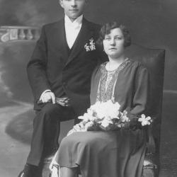 Huwelijksfoto Michel Duhamel en Germaine Plovie