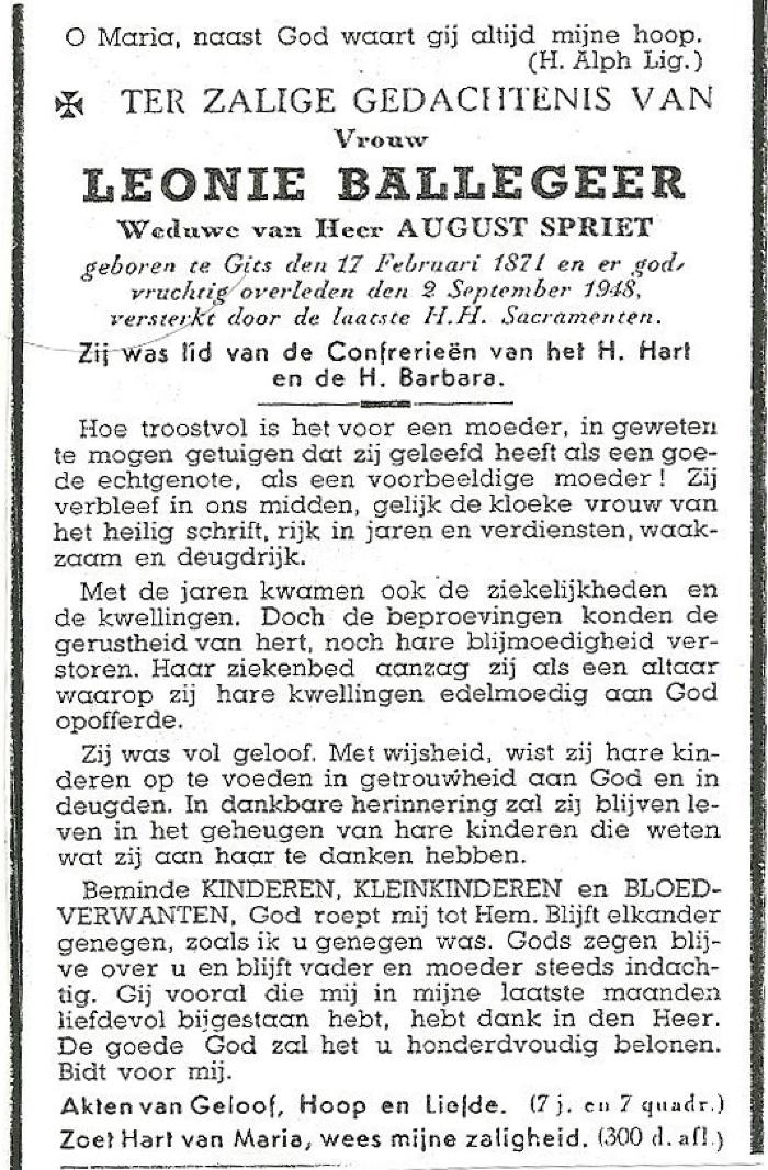 Bidprentjes Leonie Ballegeer en August Spriet, Gits