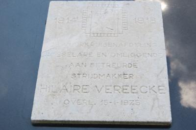 Gedenksteen vuurkruiser Hilaire Vereecke, Hooglede