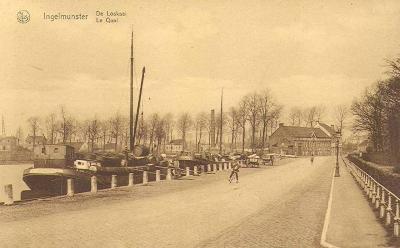 Loskaai, Stationsstraat, Ingelmunster, ca 1905