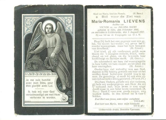 Bidprentje Maria-Romania Lievens