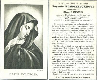 Bidprentje van Eugenie Vandekerckhove, Lichtervelde 1942