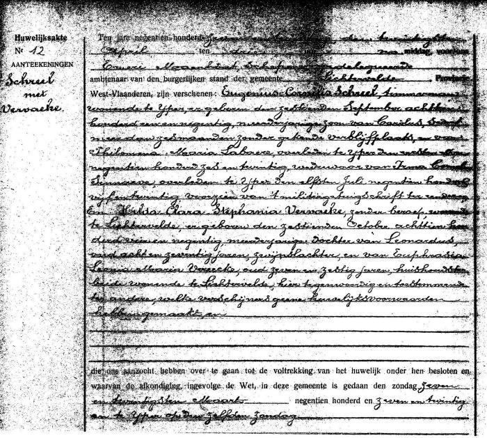 Huwelijksakte Eugenius Schreel en Hilda Vervaeke, Lichtervelde 20 april 1927