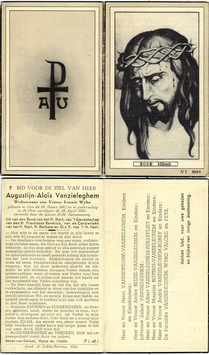 Bidprentje Augustijn-Aloïs Vanzieleghem, Gits, 1951