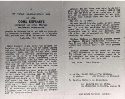 Bidprentje van Odiel Defraeye