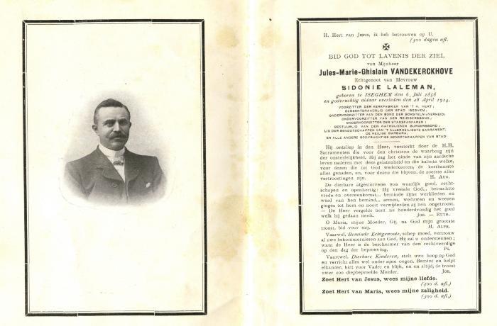 Bidprentje Jules Vandekerckhove