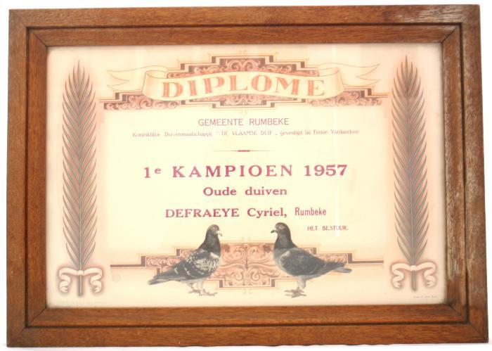 Duivendiploma Cyriel Defraeye, Rumbeke, 1957