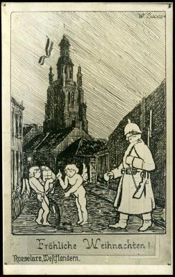 Kerstkaart met pentekening van Sint-Michielskerk, Roeselare
