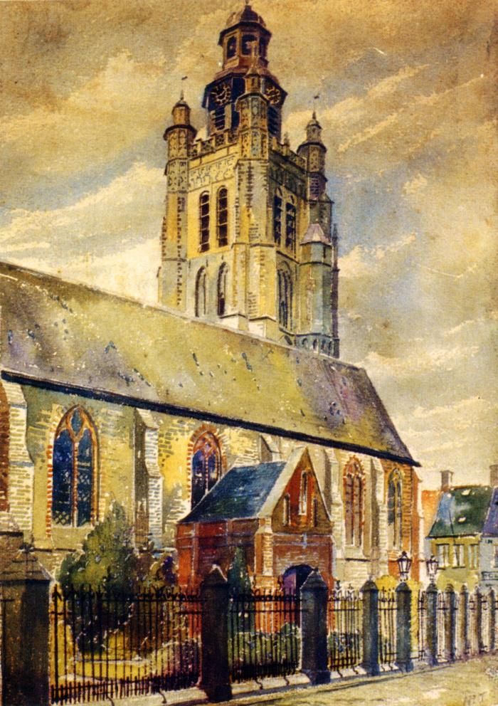 Aquarel van Sint-Michielskerk, Roeselare