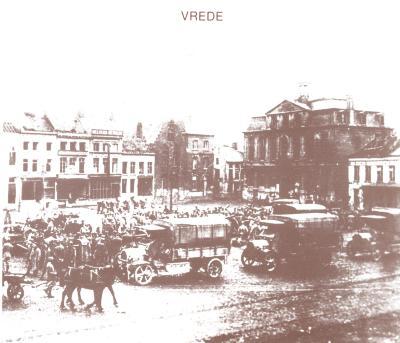 Eerste Fransen op Grote Markt na Wapenstilstand, Roeselare 12 november 1918