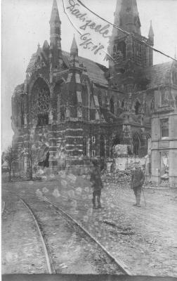 Verwoeste kerk, Dadizele 5 mei 1918