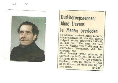 Wielrenner Aimé Lievens, Gits