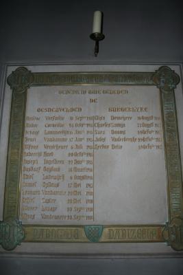 Herdenkingssteen slachtoffers Eerste Wereldoorlog, Dadizele