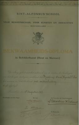 Bekwaamheidsdiploma in schilderkunst VTI, Roeselare, 1927