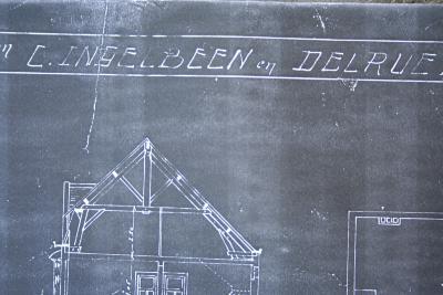 Plannen wederopbouw huizen C. Ingelbeen en Delrue, Dadizele 1920