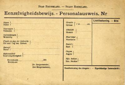'Eenzelvigheidsbewijs' (identiteitskaart)