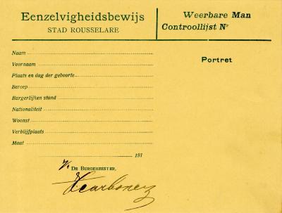 'Eenzelvigheidskaart' (identiteitskaart) met foto