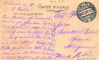 Duitse briefkaart van 54ste reservedivisie, 13 april 1915