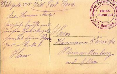 Duitse briefkaart naar Kleinwittenberg (D)