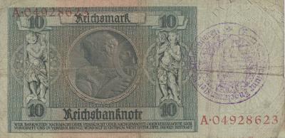 Ingelmunster, achterzijde van het 10 rijksmark biljet