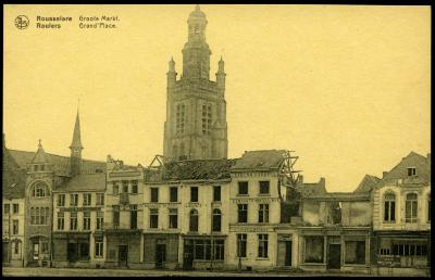 Grote Markt Roeselare na bombardement