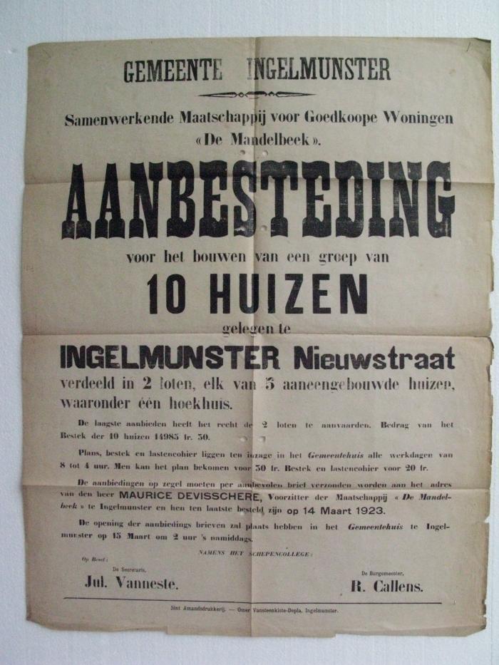 Aankondiging bouw van 10 huizen in Nieuwstraat, Ingelmunster, ca 1923